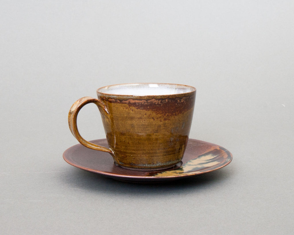 Takatori Saucer and Cup Handmade in Japan - Straight