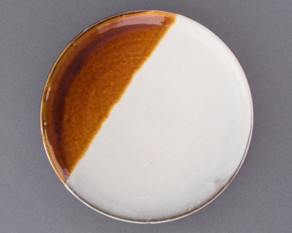 Wood-fired Japanese Ceramic Hanbun Shiro Plate - Top