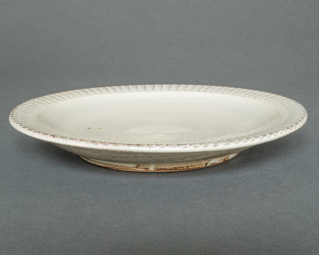 Wood-fired Japanese Ceramic Hakeme Plate - Side