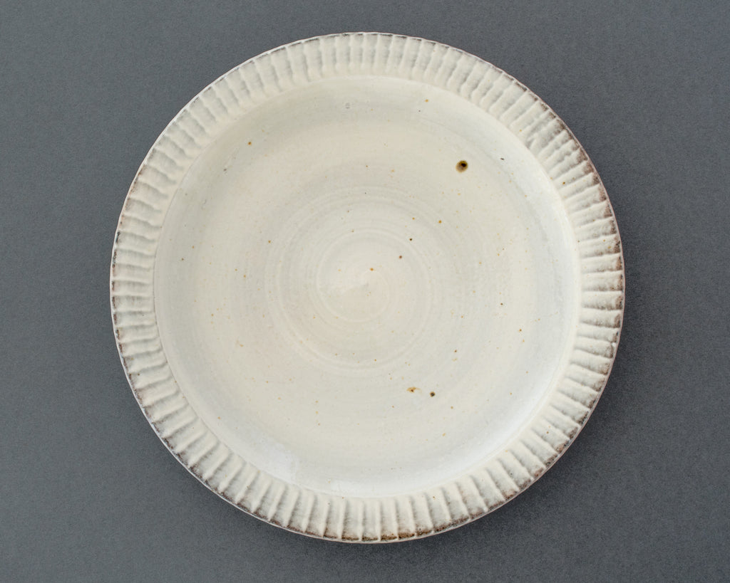 Wood-fired Japanese Ceramic Hakeme Plate - Top