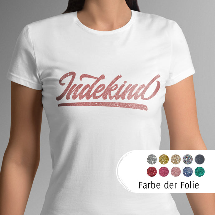 T-Shirt Damen weiß (organic) Simple Logo Glitzer