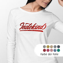 Laden Sie das Bild in den Galerie-Viewer, Longsleeve Damen weiß Simple Logo Glitzer
