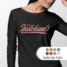 Laden Sie das Bild in den Galerie-Viewer, Longsleeve Damen schwarz Simple Logo Glitzer