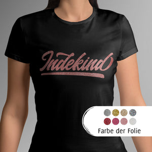 T-Shirt Damen schwarz (organic) Simple Logo Glitzer