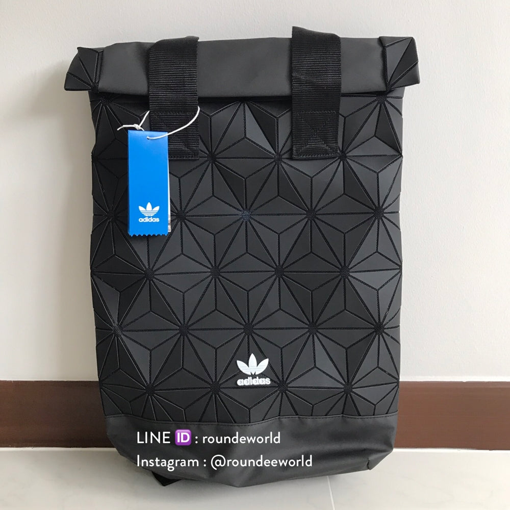 Adidas 3D Roll Top Backpack - Black - Roundeworld 3fa042cf7edc7