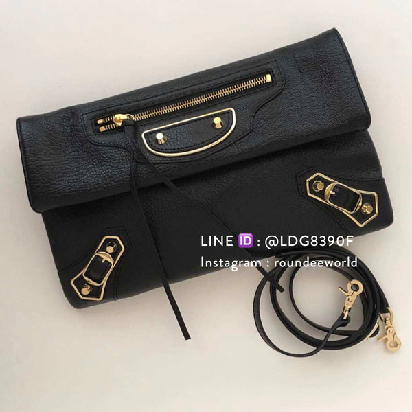 Balenciaga Classic Metallic Edge Envelope Strap - Black - Roundeworld