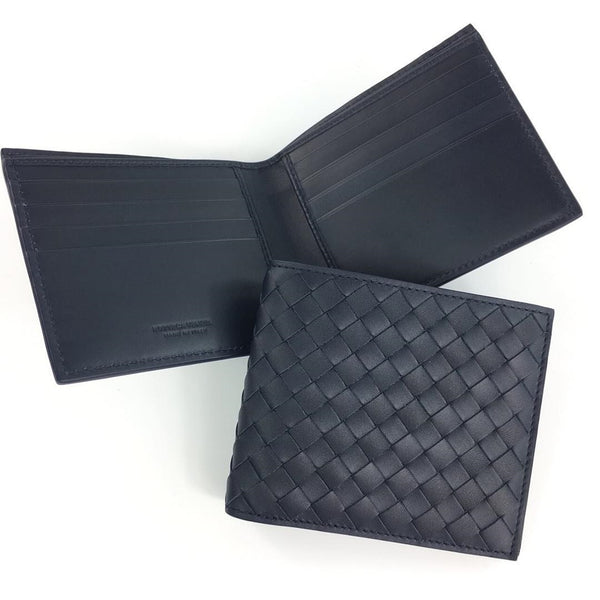 Bottega Veneta Intrecciato VN Bi-Fold Wallet - Dark Blue - Roundeworld