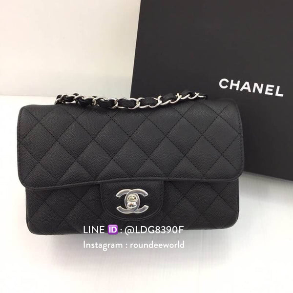 Chanel Rectangular Mini Flap Bag - Black & SHW - Roundeworld