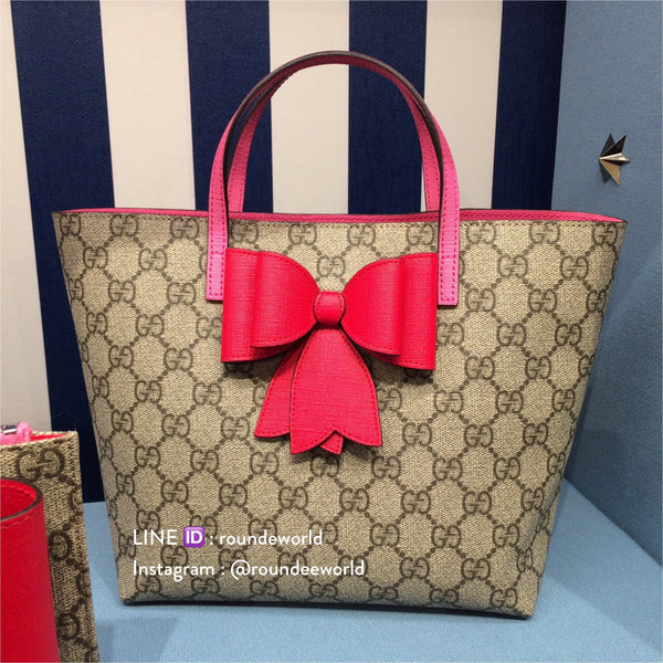 Gucci Children's GG Supreme Bow Tote - Supreme/Red - Roundeworld