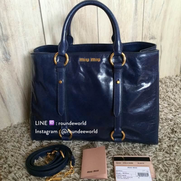 Miu Miu Vitello Shine Tote Bag RN1037 - Bluette