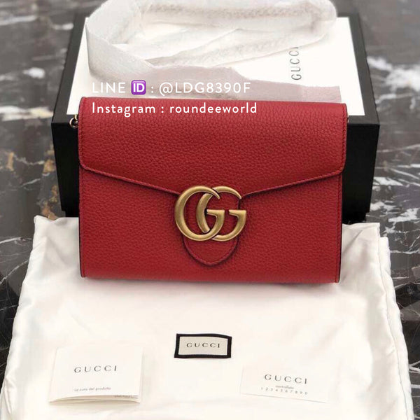 Gucci GG Marmont Leather Chain Bag - Red - Roundeworld