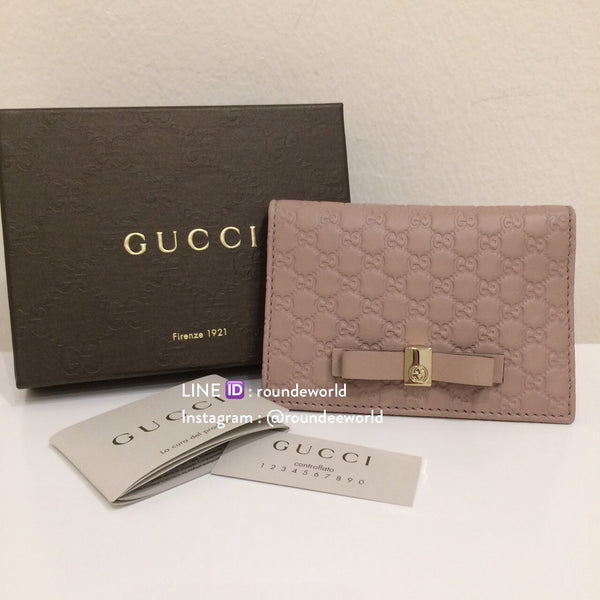 Gucci Bow Microguccissima Train Pass Case - Light Pink