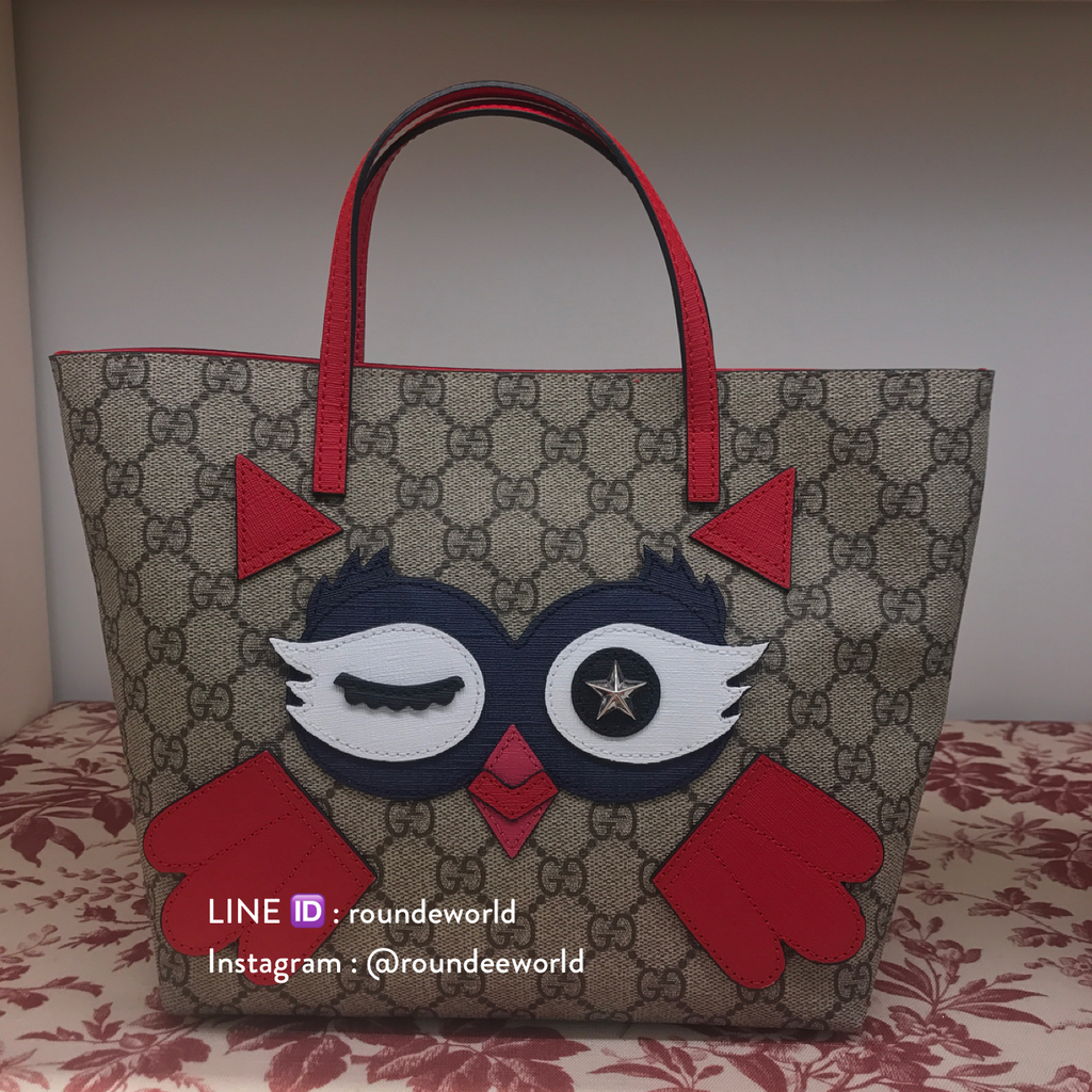 ... Gucci Children s Owl Tote - Red - Roundeworld ecad37c1967c6