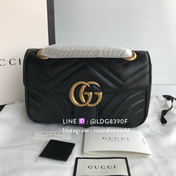 Gucci GG Marmont Matelassé Mini Bag - Black - Roundeworld