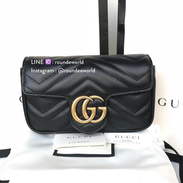 Gucci GG Marmont Matelassé Leather Super Mini Bag - Black - Roundeworld