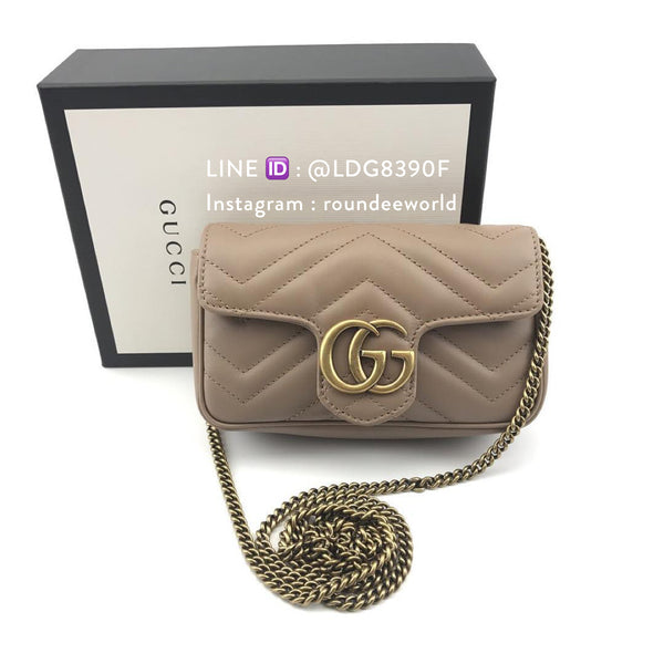 Gucci GG Marmont Matelassé Leather Super Mini Bag - Beige - Roundeworld