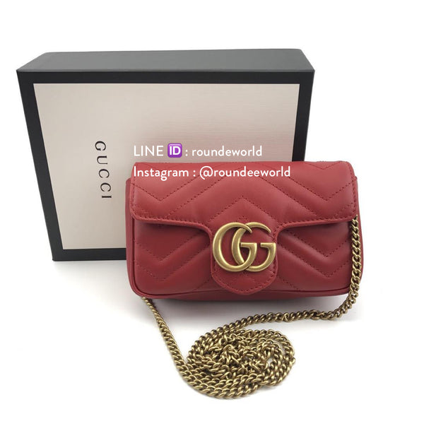 Gucci GG Marmont Matelassé Leather Super Mini Bag - Red - Roundeworld