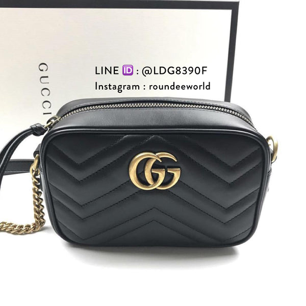 Gucci GG Marmont Mini Matelassé Shoulder Bag - Black - Roundeworld