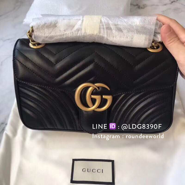 Gucci GG Marmont Small Matelassé Bag - Black - Roundeworld