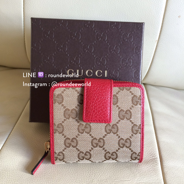f5c78fc7876a41 Gucci Monogram Zip Around French Wallet - Red - Roundeworld