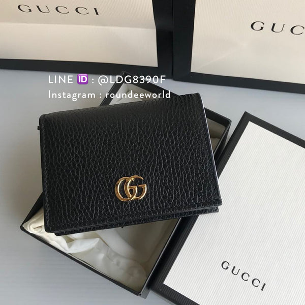 Gucci Leather Card Case Wallet - Black - Roundeworld