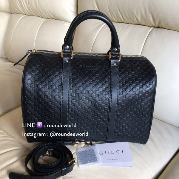 *RESTOCKED!* Gucci Microguccissima Leather Boston Bag - Black - Roundeworld