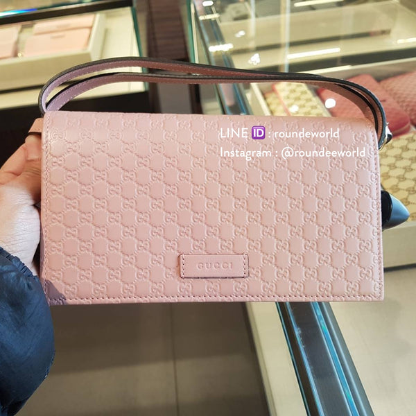 bc0ea70c6fd3 Gucci Microguccissima Wallet on Chain - Light Pink - Roundeworld