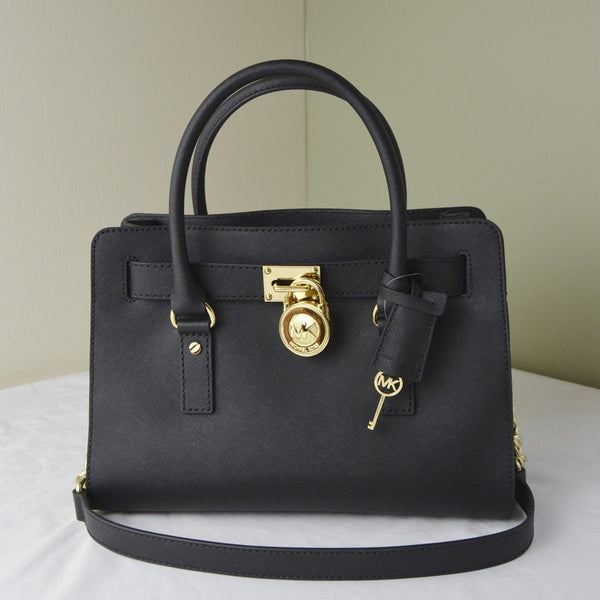 Michael Kors Hamilton Saffiano Leather Medium Satchel - Black/Gold