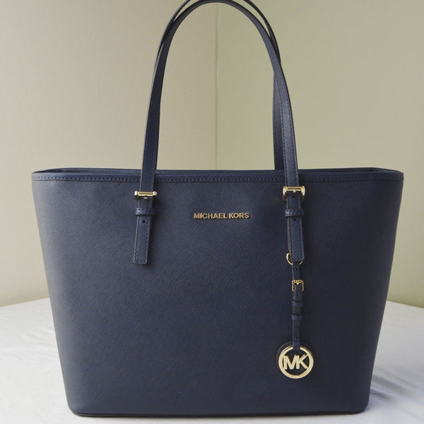 Michael Kors Jet Set Top-Zip Saffiano Leather Tote - Navy