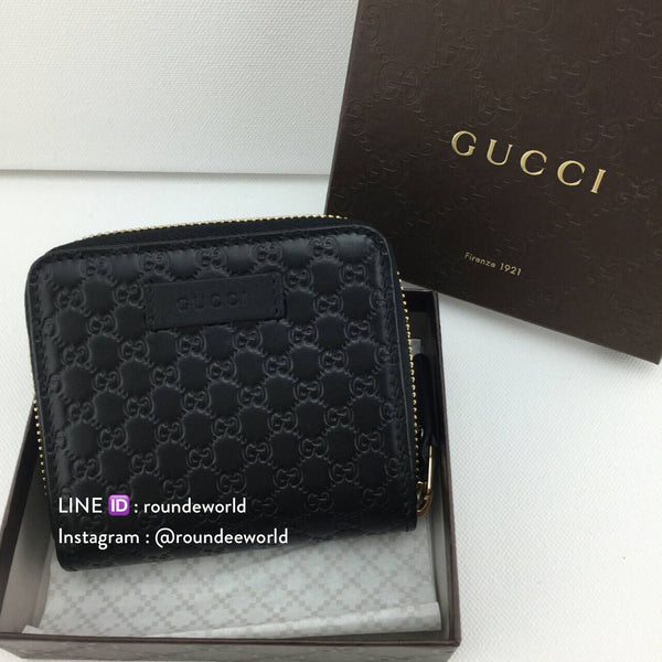 Gucci Microguccissima Mini Zip Around Wallet - Black - Roundeworld