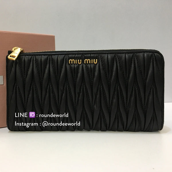 Miu Miu Matelassé Leather Half Zip Wallet - Black
