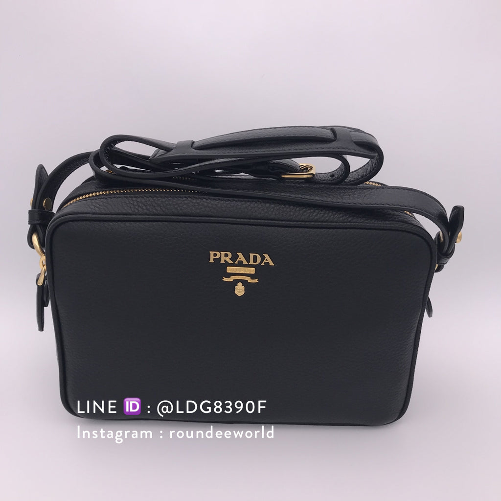 6769bb7db44 Prada Vitello Phenix Bandolibra Sling Bag 1BH079 - Black
