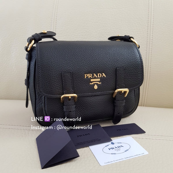 Prada Vitello Daino Messenger Bag 1BD092 - Black