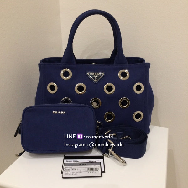Prada Canapa Grommet Small Shopping Tote 1BG439 - Bluette