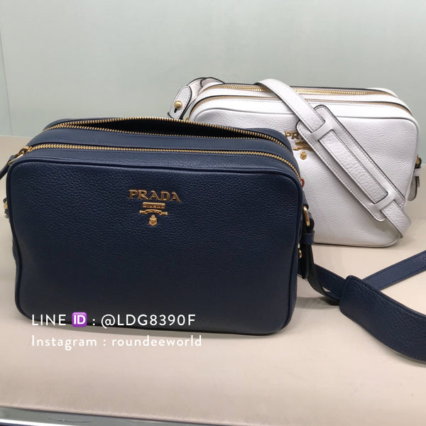Prada Vitello Phenix Bandolibra Sling Bag 1BH079 - Baltico