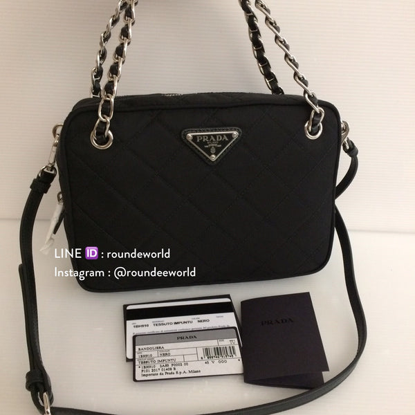 Prada Tessuto Impuntu Quilted Convertible Bag 1BH910 - Black