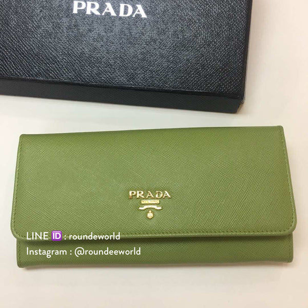 Prada Saffiano Metallic Gold Leather Flap Wallet 1M1132 - Prato - Roundeworld