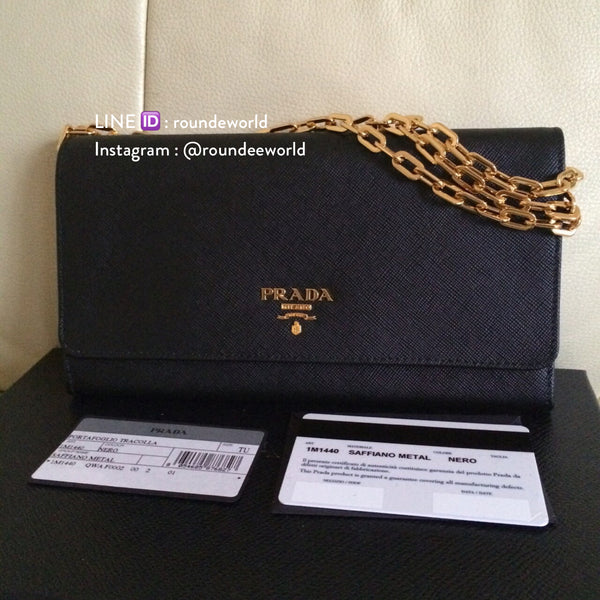 Prada Saffiano Wallet on Chain 1M1440 - Black