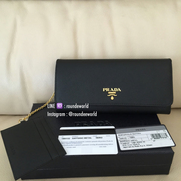 Prada Saffiano Metallic Gold Leather Flap Wallet 1MH132 - Black