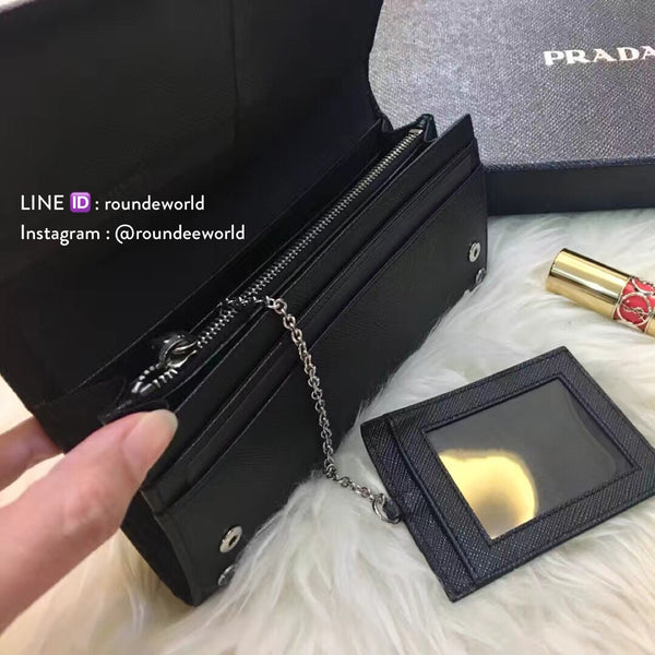 Prada Saffiano Leather Flap Wallet 1MH132 - Black