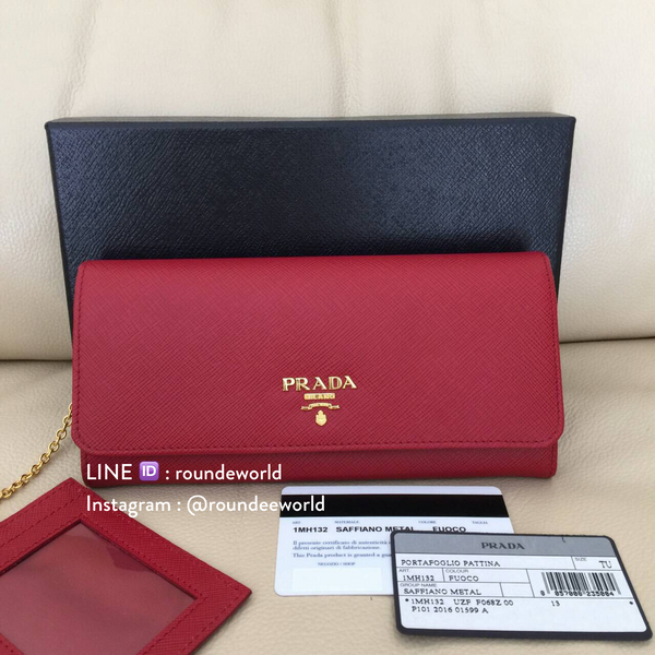 Prada Saffiano Metallic Gold Leather Flap Wallet 1MH132 - Fuoco