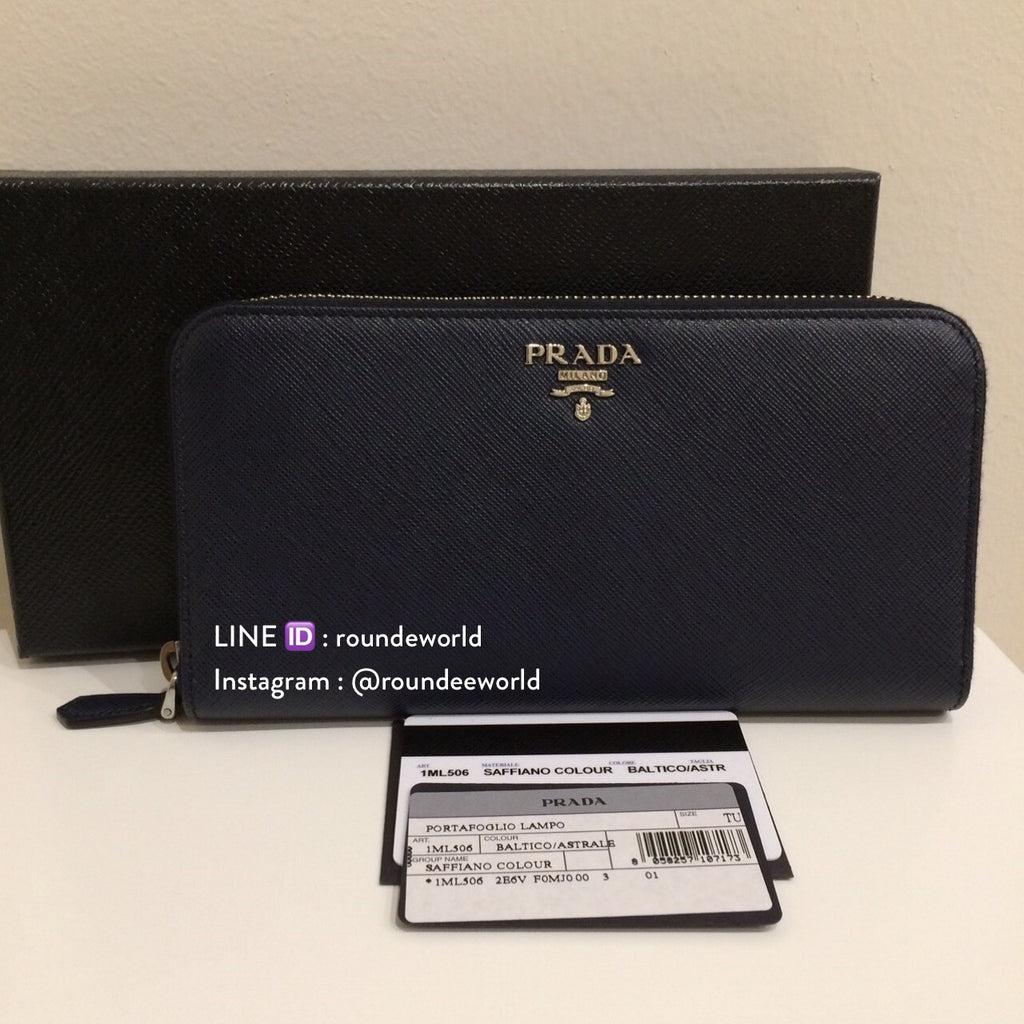 finest selection 63101 a34b1 Prada Saffiano Leather Wallet 1ML506 - Baltico/Astrale