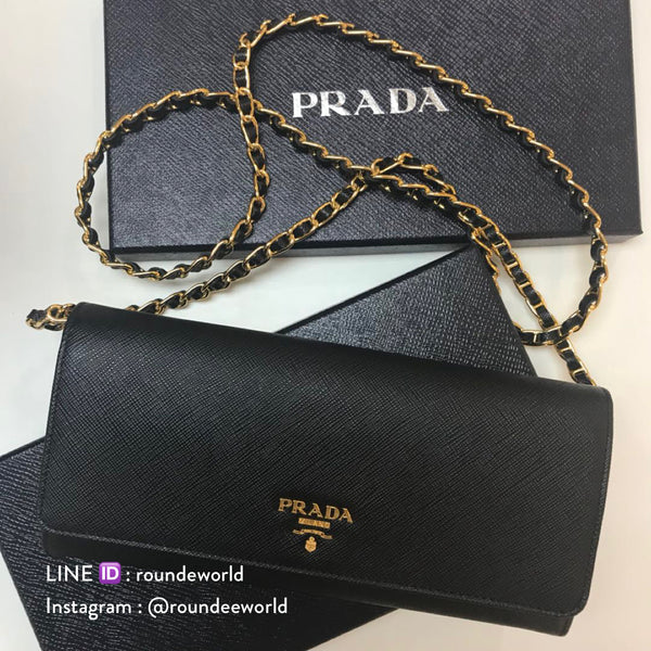 Prada Saffiano Wallet On Chain 1MT290 - Black
