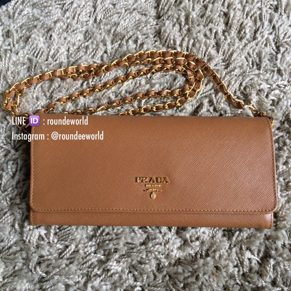Prada Saffiano Wallet On Chain 1MT290 - Caramel