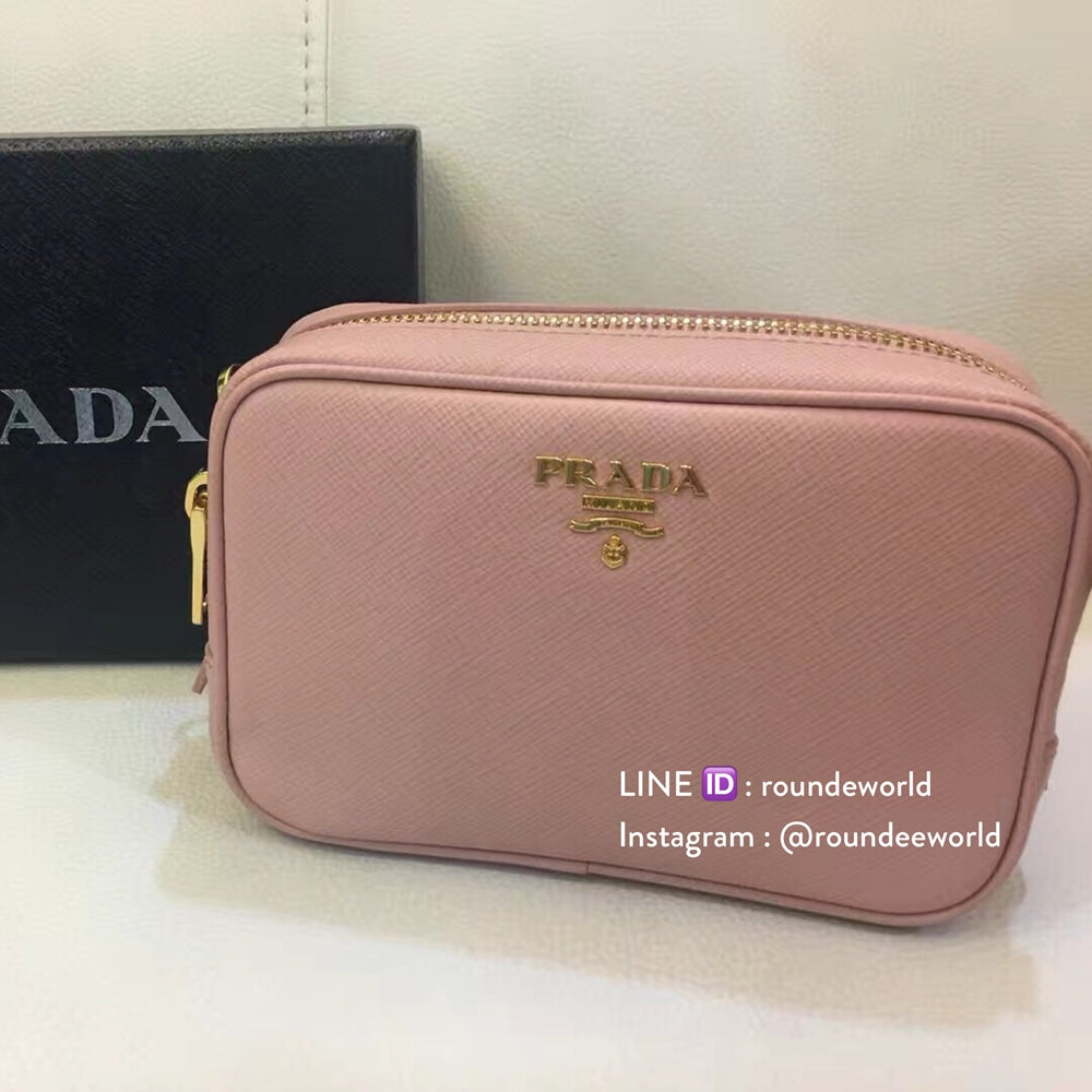 8c7a2b4f933d Prada Saffiano Leather Cosmetic Pouch 1N1674 - Orchidea - Roundeworld