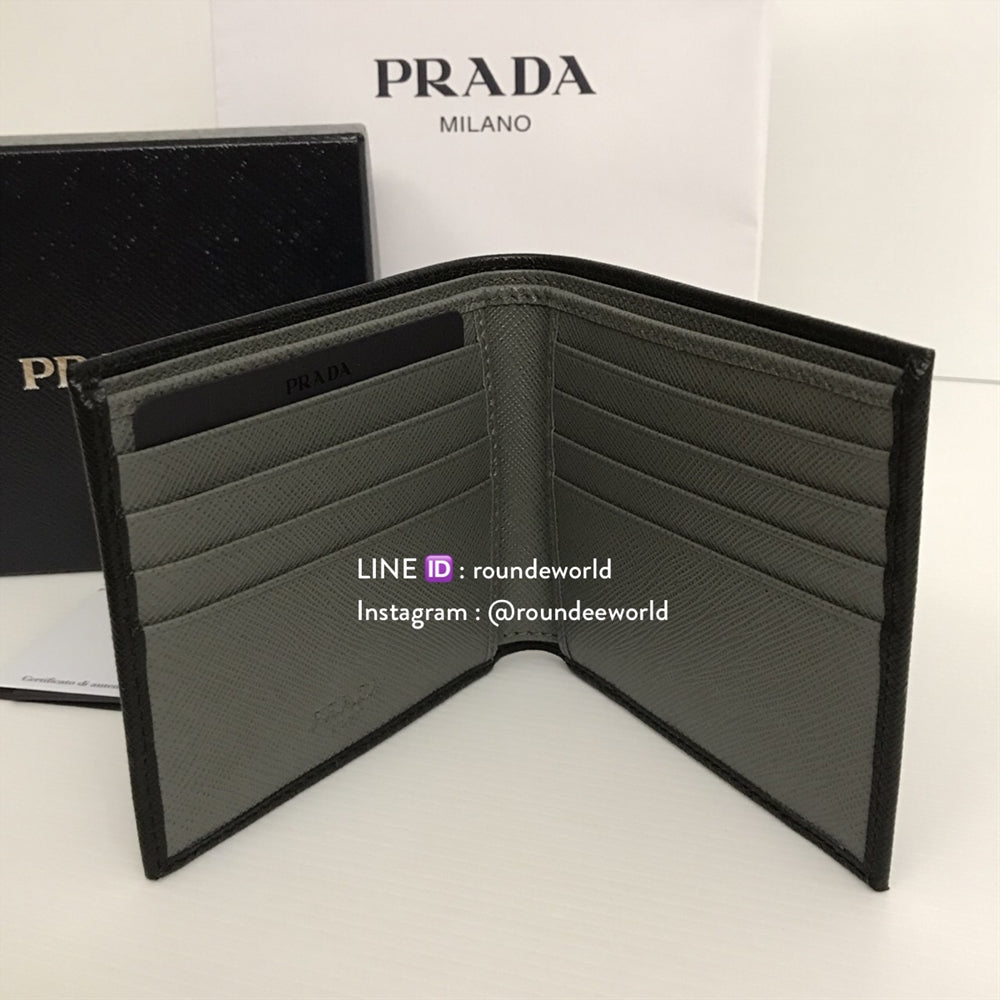 58c97812ce96a0 canada prada saffiano leather bi color wallet 2mo513 black mercurio 97ad4  1f308