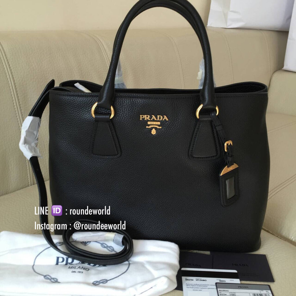 78d00b39f03b ... purchase prada vitello daino leather shopping bag bn2794 black 7b703  2ecc1