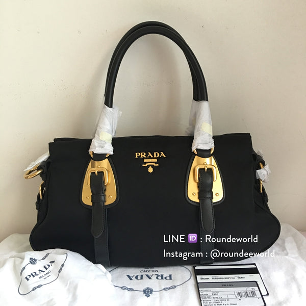 Prada Tessuto Nylon Convertible Bag 1BA864 - Black