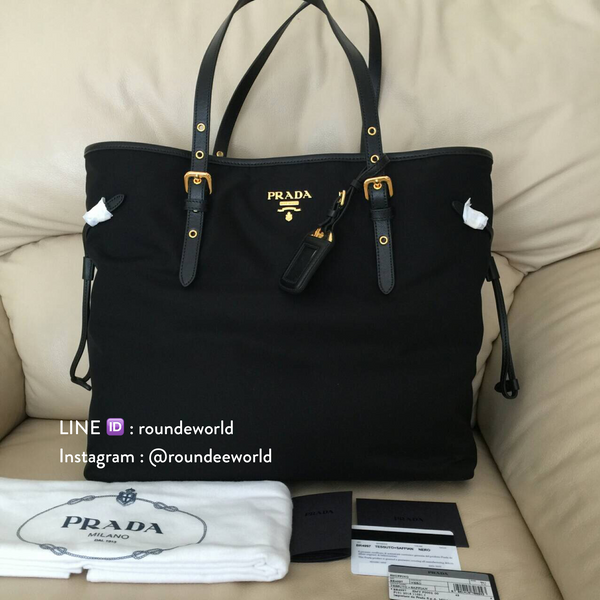 Prada Tessuto Nylon & Saffiano Leather Shopping Tote Bag BR4997 - Black