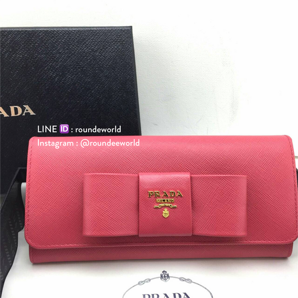 Prada Saffiano Leather Continental Bow Wallet 1M1132 - Peonia